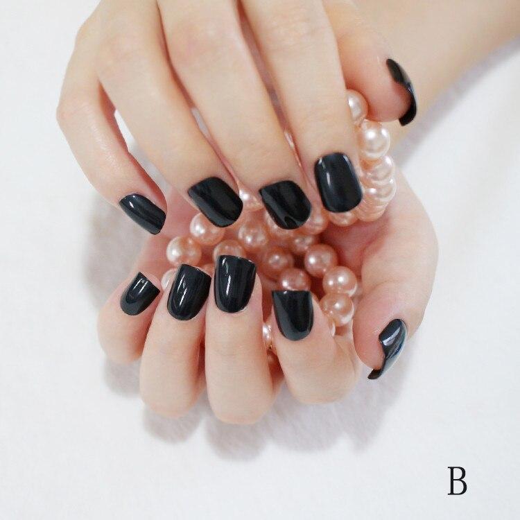 240Pcs Fashion Fake Nails Classic Black Candy Short False Nails Art ...