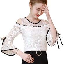 2019 New flower embroidery blouse shirt Women tops chemise femme camisa see through short sleeve summer blusas  02B