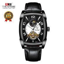 TEVISE אוטומטי שעון מכאני עסקי גברים שעונים Mens שלד שעון עור רצועת זכר שעוני יד שעון relogios t802b