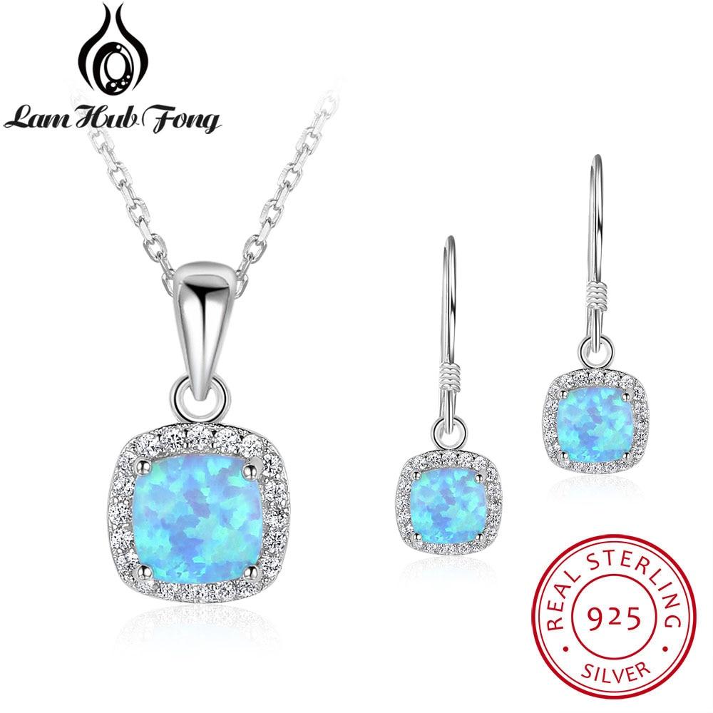 925 Sterling Silver Square Blue Opal Necklace Earrings Women Jewelry Set Bridal Cubic Zirconia Fine Jewelry Sets (Lam Hub Fong) цена