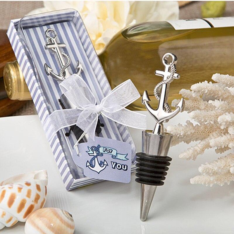 Çapa denizcilik temalı şarap şişe stoper Düğün Favor Hediye Doğum Günü Partisi İş toplantı Hatıra Eşantiyon Regalo 10 adet