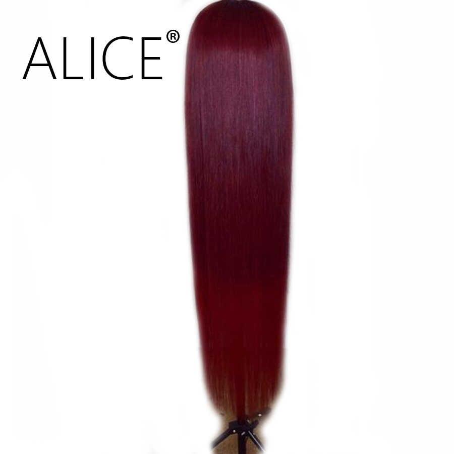 ALICE Hair бордовые волосы на кружеве парик с волосами младенца прямые 130% плотность бразильские волосы Remy Омбре парик с темными корнями 13x4