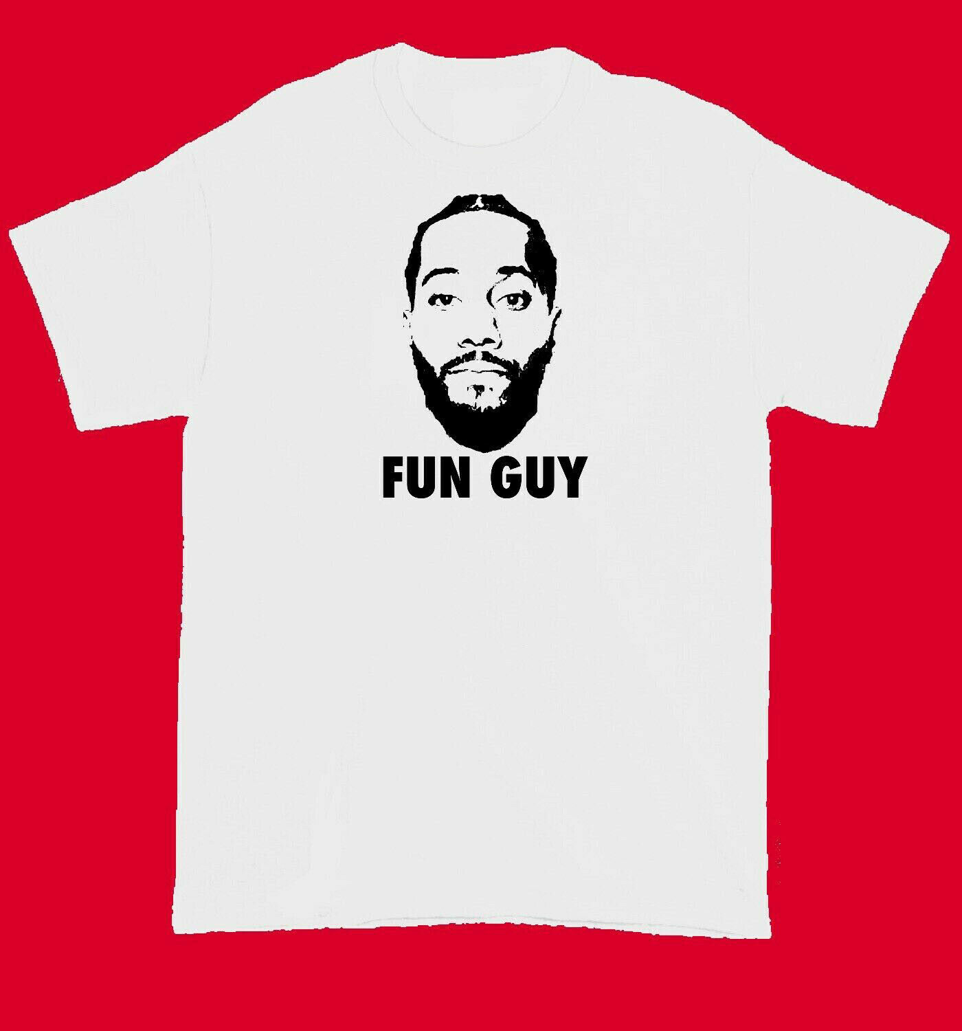 Kawhi Leonard FUN GUY T Shirt White M-3XL T shirt Men Black Short Sleeve Cotton Hip Hop T-Shirt Print Tee Shirts