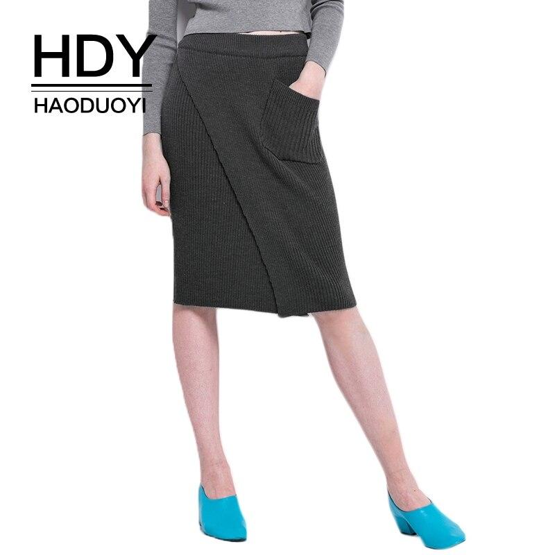 Hdy Haoduoyi брендовые женские черные вязаные юбки раздельные