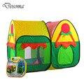 Colorido Doble Carpa Carpa Jardín de la Cabaña Felices Los Niños Casa de Juegos Al Aire Libre y de Interior de casa de Muñecas de Gran Tamaño Del Bebé Portátil Plegable Para Niños Tiendas de Campaña