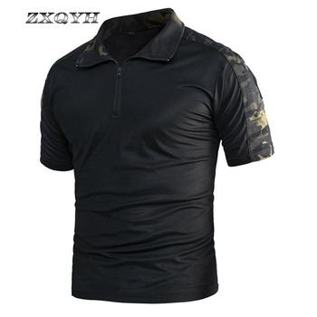 ZXQYHSummer męskie koszulki szybkie suche koszulki sportowe taktyczne wojskowe armii koszulki bojowy polowanie koszule odkryty piesze wycieczki koszulki tanie i dobre opinie Camping i piesze wycieczki Tees Poliester Krótki Stałe Coolmax Pasuje prawda na wymiar weź swój normalny rozmiar Quick Dry Breathable Anti-wearing