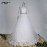 JIERUIZE White Lace Appliques Ball Gown Wedding Dresses Lace Up Back 3 4 Sleeves Wedding Gowns