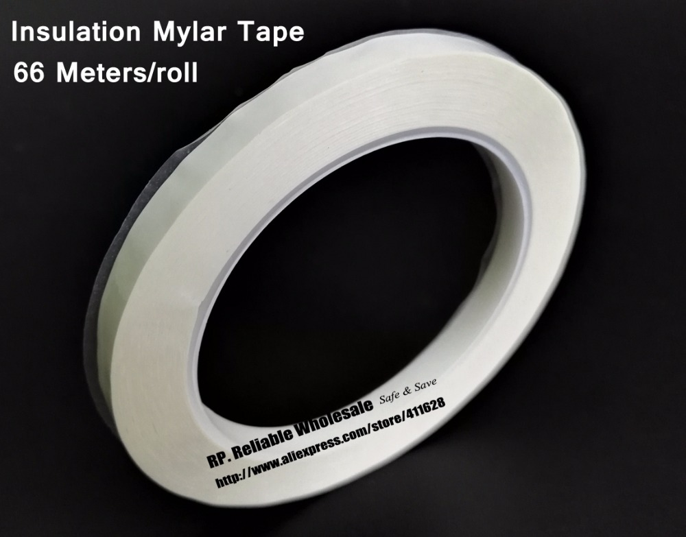 25mm*66M Single Face Glued Insulated Mylar Tape for transformers, Fireproof, White size 65mm 66meter single sided glued insulating mylar tape for transformers fasten blue