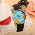 JECKSION Mujeres Visten Los Relojes, Moda Mapa Mundial de los Viajes Por Avión Denim Tela Reloj de la Venda Mujeres 7 Colores Liberan El Envío # LSIN