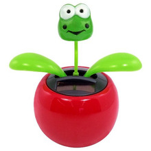 Lovely Solar Powered Dancing Flower Frog Great as Gift or Decoration Children Solar Toy Gadget Furnishing Articles Hot Selling