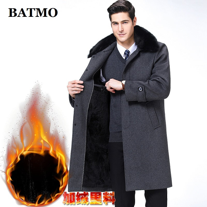 BATMO 2019 New Arrival Autumn&winter High Quality Wool Long Trench Coat Men,men's Wool Jackets,warm Coat,plus-size M-XXXL,1688