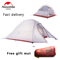 DHL Free Shipping NatureHike 2 Person Tent 210T Plaid Fabric Tents Double Layer Camping Tent Outdoor