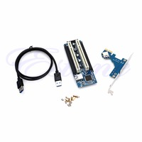 1 Set PCI E Express X1 to Dual PCI Riser Extend Adapter Card With 2.6 FT USB3.0 Cable New And High Speed