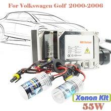 55 Вт Xenon HID Kit Лампы Балласт 3000 К-15000 К DC (1 Пара Балласт + 1 Пара Лампы) автомобиль Фар Головного Света Для VW Golf 2000-2006