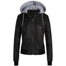Women Pu Jacket Gothic Faux Leather coats hoodies Winter Autumn Motorcycle Black Outerwear Zipper