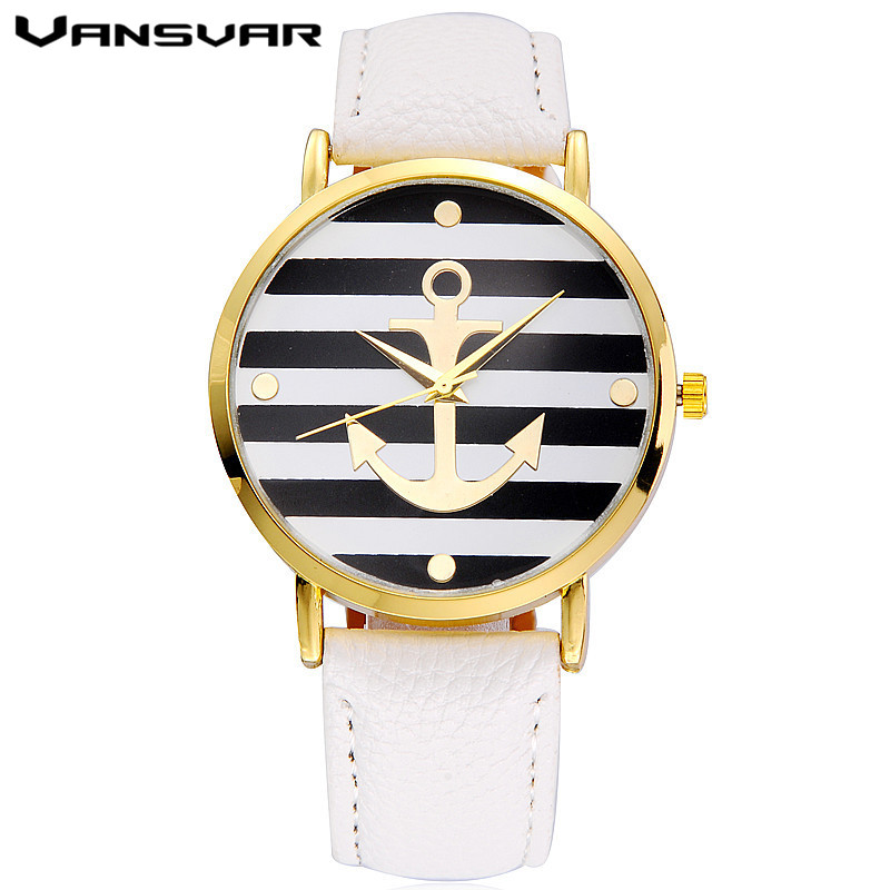 Vansvar Brand Fashion Leather Anchor Watches Casual Women Wristwatches Luxury Quartz Watch Relogio Feminino Gift Clock 2017 new fashion tai chi cat watch casual leather women wristwatches quartz watch relogio feminino gift drop shipping
