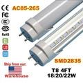 60 pcs T8 4ft 1200mm Levou G13 Tubo de Luz Alta Super Bright 18 W 20 W 22 W Quente Branco Frio Lâmpadas AC110-240V Led Fluorescente FCC