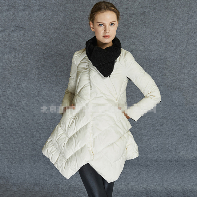 Cheap Solid Zipper Slim Coat Fur Pockets Winter Jacket Women Parkas Snow Warm Female Clothing 2016 New Arrival Plus Size Black White
