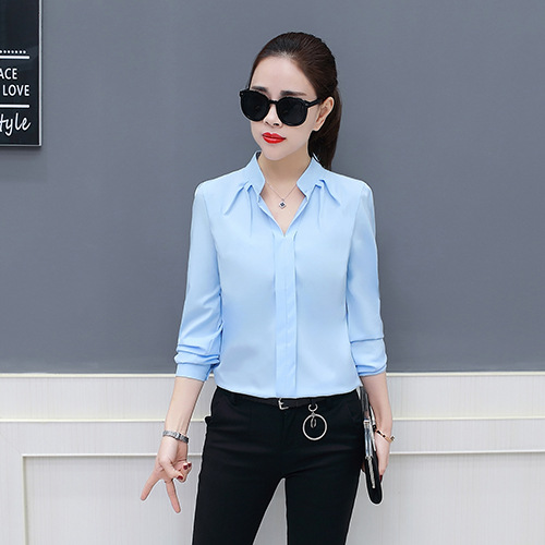Spring Autumn 2019 New Women Chiffon Blouses & Shirts For Work Feminine Long Sleeve Leisure Bottom Loose Slim Blouses & Tops