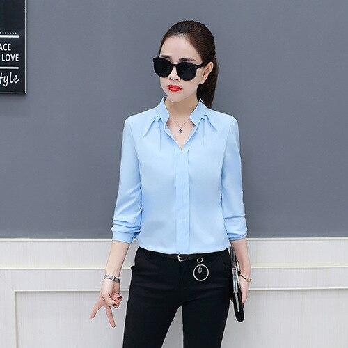 Spring Autumn 2019 New Women Chiffon   Blouses   &   Shirts   For Work Feminine Long Sleeve Leisure Bottom Loose Slim   Blouses   & Tops