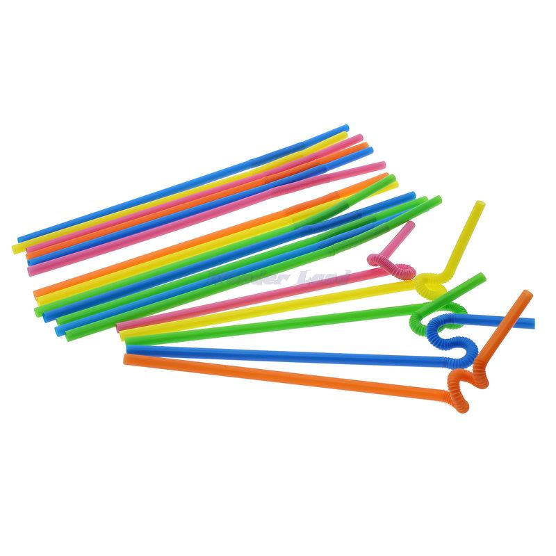 1Pack 88Pcs Colorful Straw Crazy Curly Loop Coloured Drinking Straws for Birthday Party