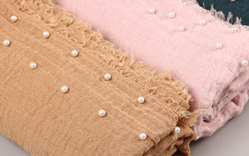 10 PC lot Women Plain Bubble Cotton Beads Wrinkle Scarf Shawl Solid Crumple Pearl Wrap Pashminas