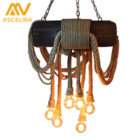 Loft Tyre Retro American Country Dining Light Chandelier Living Rope Lamp Vintage Industrial Hemp Rope Lamp
