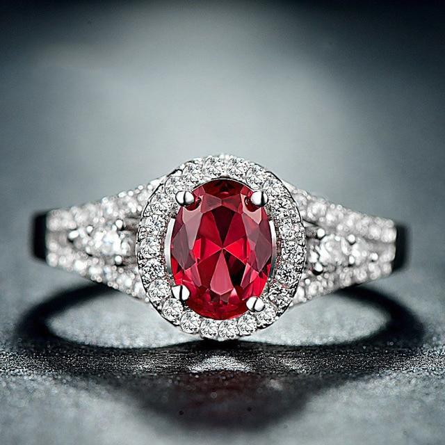 925 Sterling Silver Red Corundum Women Jewelry Mirco-pave CZ Rings Full  Love Quartz Ring Free Shipping FJ113 bcef070c95