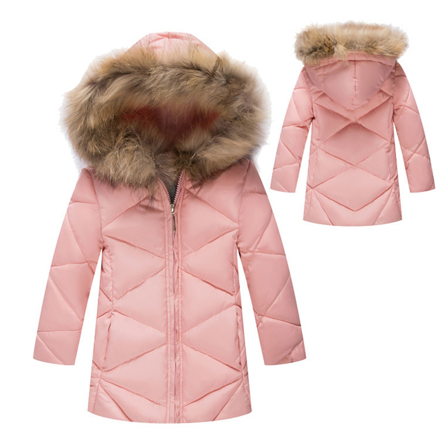 2016 Winter Baby Girl Down Cotton Jackets Coat Children's Winter Clothing Long Thick Warm Padded Outerwear Coats Cotton Jacket