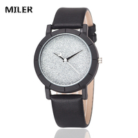 MILER New Fashion Watch Women Color Leather Creative Star Dial Moon Pointer Casual Quartz Watch Students Individuality Clock