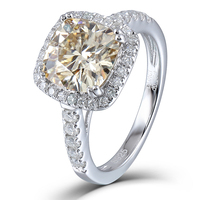 Transgems 2.86CTW 8X8mm Cushion Cut 1.9mm Band Width Tea Yellow moissanite Halo Engagement Ring with Accents