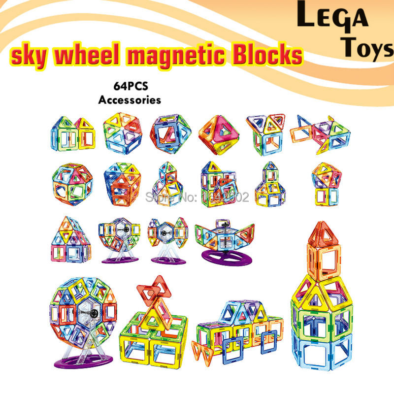 64PCS Educational Magnetic Designer Blocks Sky wheel Model DIY Development Building Block Children Game Construction Bricks наушники с микрофоном logitech g433