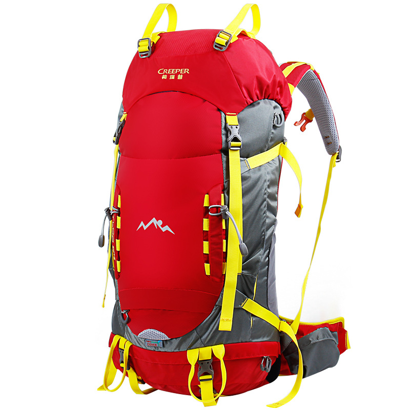 45L Outdoor mountaineering bag large capacity metal frame backpack waterproof Nylon Rucksack Climbing camping professional bag multifunctional professional handle pulley roller gear outdoor rock climbing tyrolean traverse crossing weight carriage fit