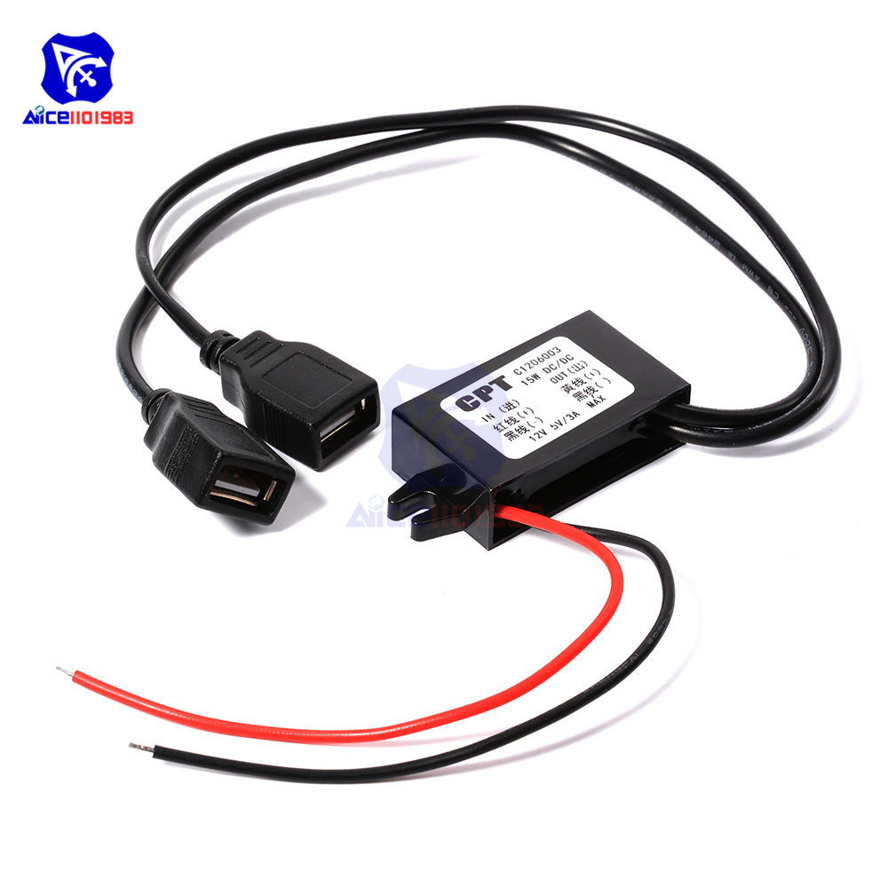 DC-DC Car Power 12V To 5V 3A 15W Converter Module Micro USB Step Down Power Output Adapter Low Heat Auto Protection