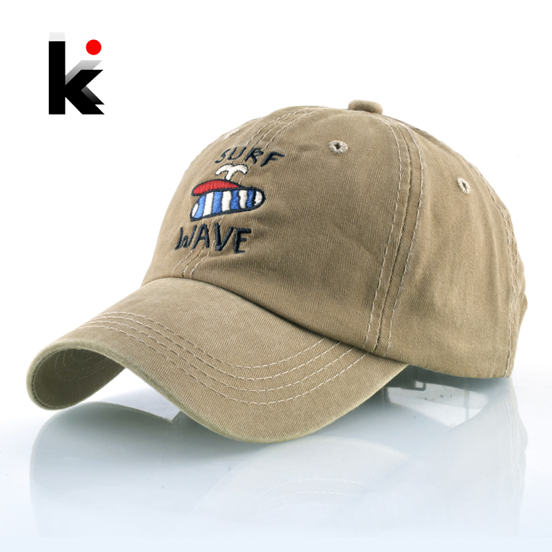 Washed Denim Baseball Cap Men Cotton Embroidery SURF WAVE Hats For Women Snapback Dad Hat Outdoor Unisex Sprot Bone Gorras