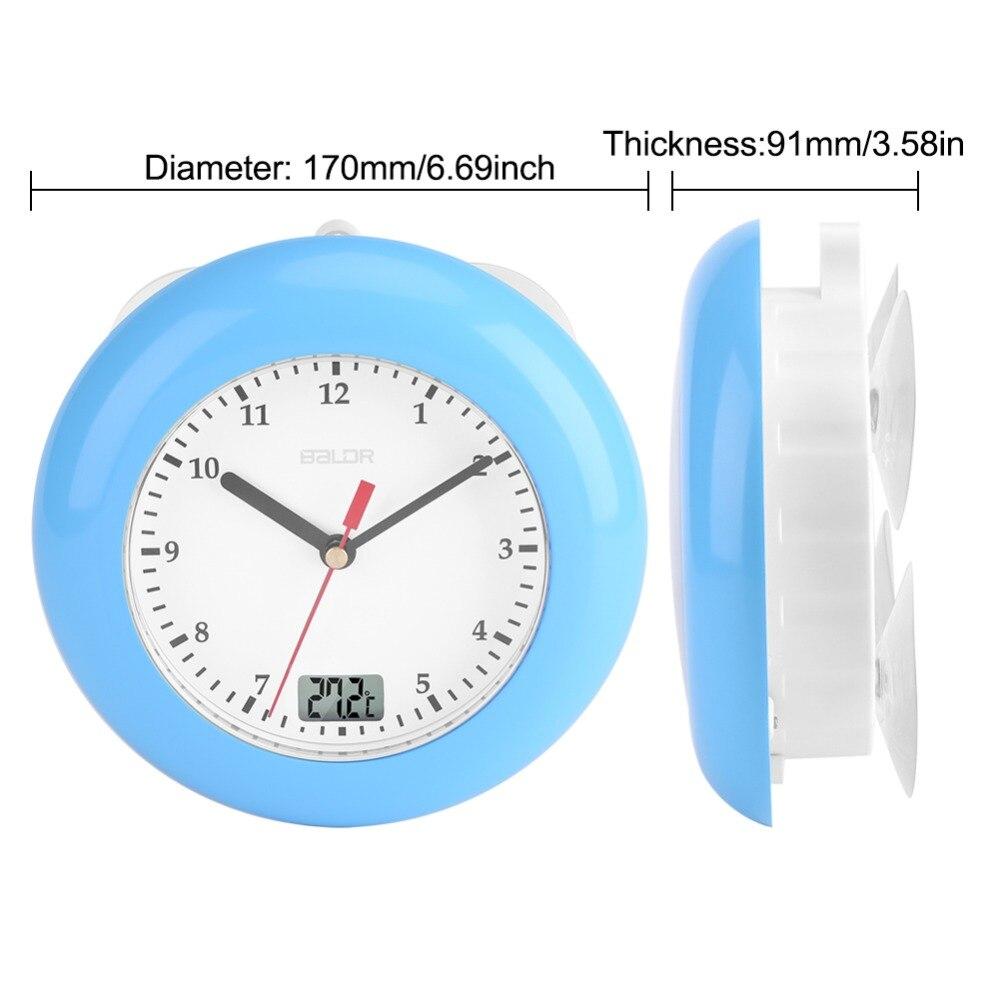 ̀ •́ 0-50 Celsius Waterproof Analog Bathroom Clock Suction Cup ...
