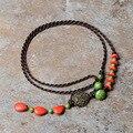 Feijão vermelho verde Turquesa pedras tailândia jóias colar étnica, nova Jóia tradicional Vento Chinês colar vintage