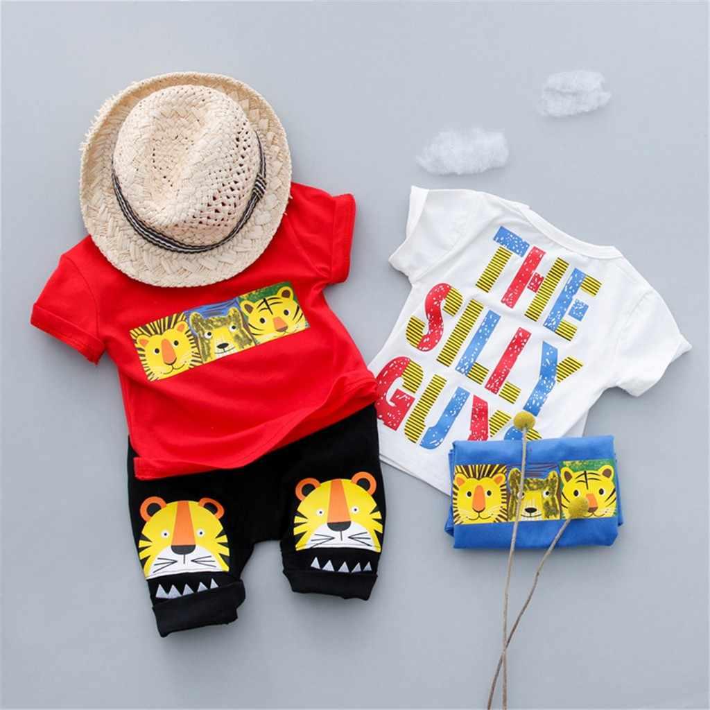 2019 г. TELOTUNY/Милая футболка с тигром для маленьких девочек и мальчиков из 2 предметов футболка, топы, шорты, брюки, комплект одежды, Z0211
