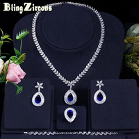 BeaQueen Silver Color Bridal Wedding 4 Pcs Royal Jewelry Set Blue Stone CZ Crystal Ring Earring Bracelet Necklace Sets JS101