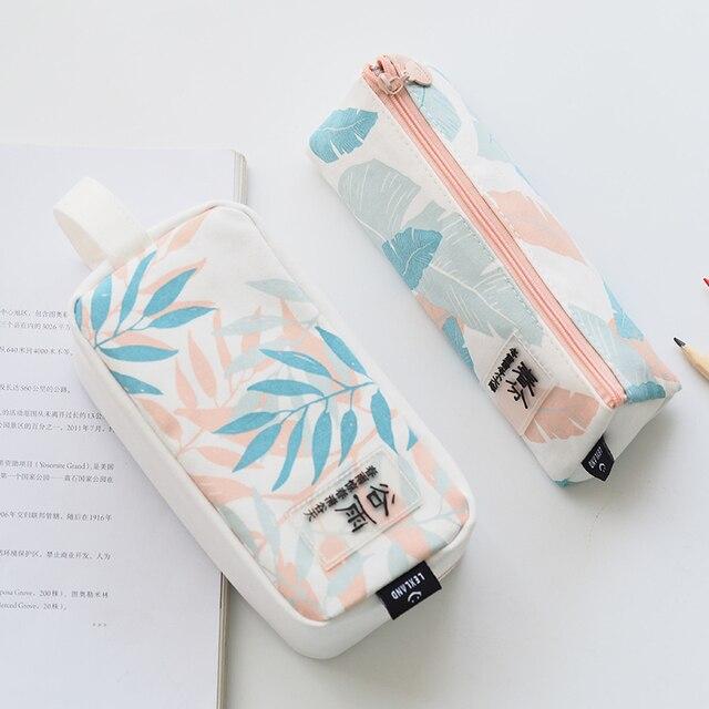 Natural Simple Plant Canvas Pencil Case Pencil Creative Bag Modeling
