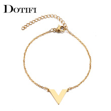 DOTIFI Stainless Steel Bracelet For Women Man V Word Gold And Silver Color Pulseira Feminina Lover's Engagement Jewelry