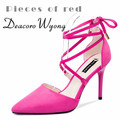 Free shipping 2016 summer Lacing pointed shallow mouth cross straps bow sexy heels, women's sexy lacing-up party heels, 34-39