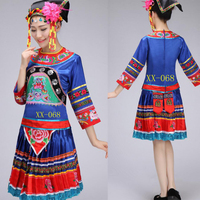 Adults miao clothing Outfits Women Chinese folk dance wear dress costume traditional chinese Stage wear costume pleat skirt