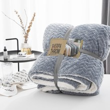 Drop Ship Grey Solid Color Geometry Blanket For Adult Twin Queen Size fleece throw blankets fuzzy blanket winter/autumn bedcover(China)