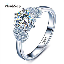 Visisap White gold color Flower Rings For Women wedding Ring engagement bague cubic zirconia fashion jewelry factory VSR072 china factory unique styles prong settings cubic zirconia gold color cheap pure titanium fashion jewelry rings for wedding