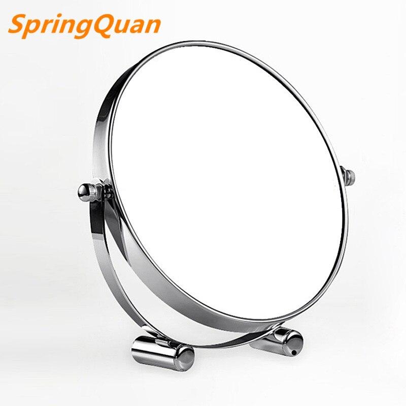 7 inch fashion high-definition desktop makeup mirror / 2-Face metal bathroom mirror 3X magnifying / 360 rotating Christmas gift