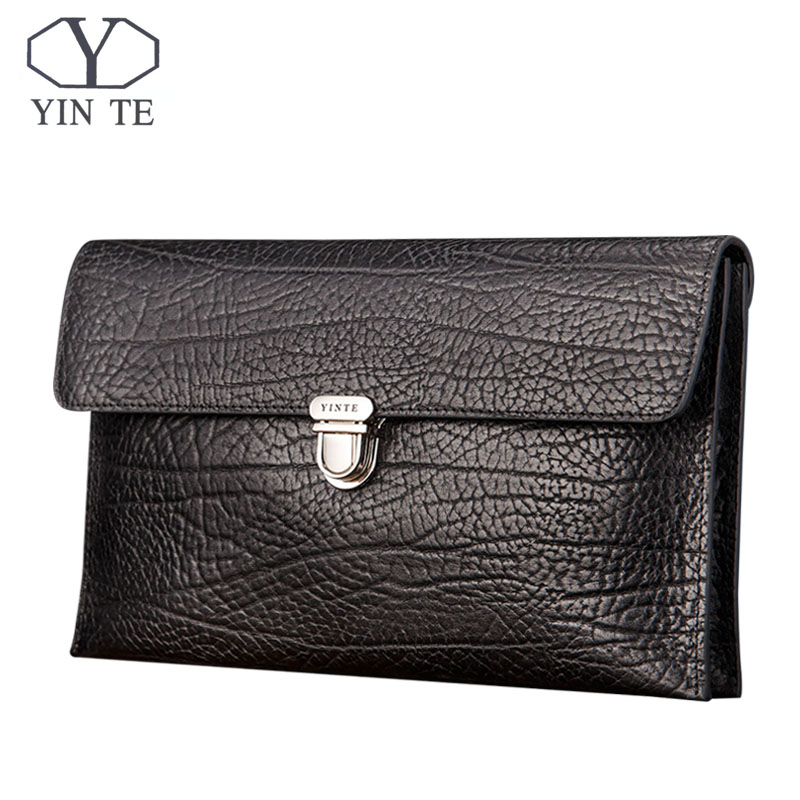 YINTE New Luxury Cowhide Men Clutch Bags Long Leather Men Wallets Purses High Quality Layer Business Clutch Portfolio T8655-2 long wallets for business men luxurious 100% cowhide genuine leather vintage fashion zipper men clutch purses 2017 new arrivals