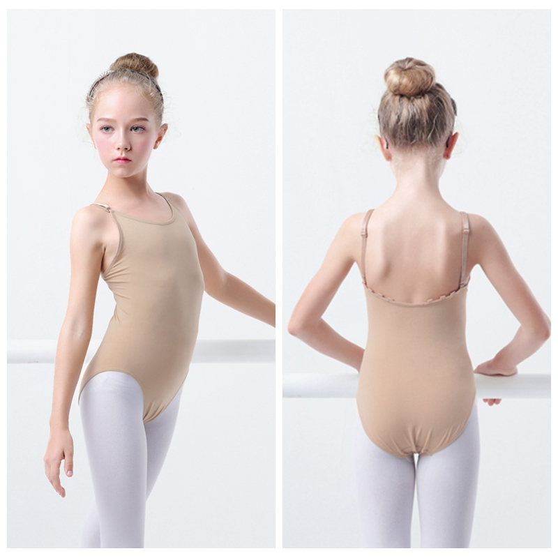 Girls Kids Nude Camisole Ballet Leotard Seamless Underwear Skin Colored Gymnastics Leotard Adjustable