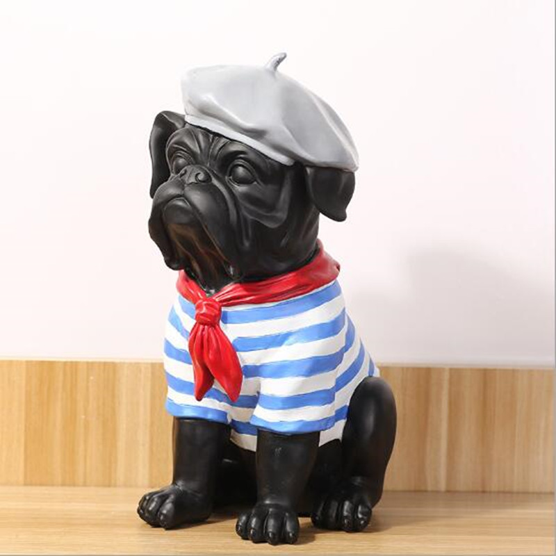 American Country Style Pug Resin Escultura Home Decoration Accessories Bulldog Resin Statue&Sculpture Bedroom Ornaments CraftsAmerican Country Style Pug Resin Escultura Home Decoration Accessories Bulldog Resin Statue&Sculpture Bedroom Ornaments Crafts