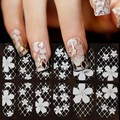 1 Sheet Ultrathin Transparent Nail Art Stickers White 3D Lace Manicure Decoration Acrylic Nail Decals Full Wraps DIY Decorations